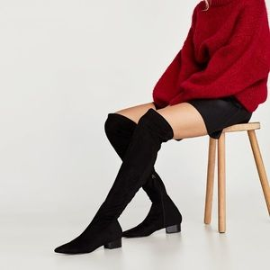 Zara combined flat over the knees boots